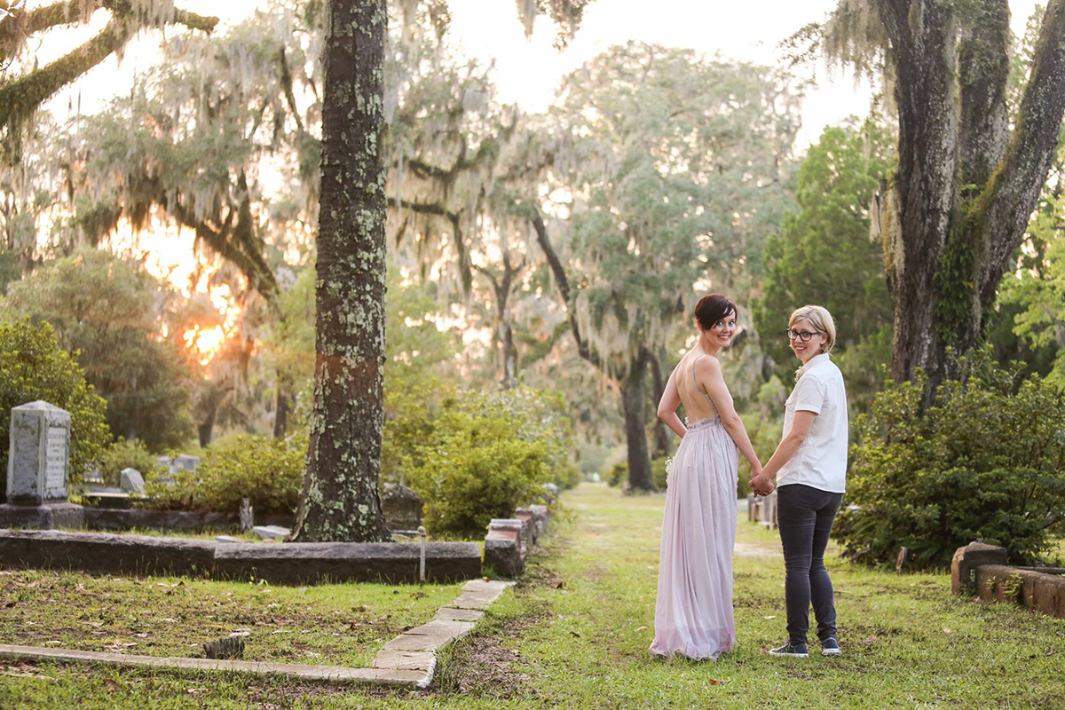 Lesbian couple at sunset in Bonaventure cemetery