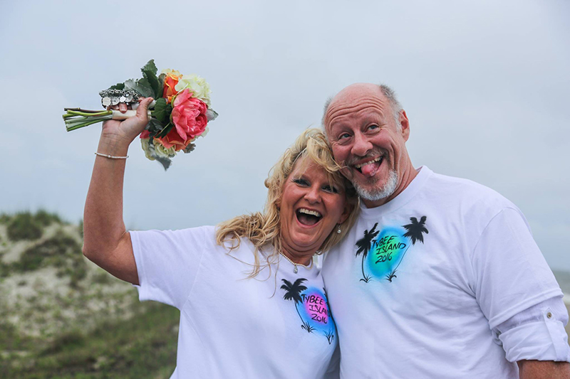 Happy couple celebrating Tybee Island